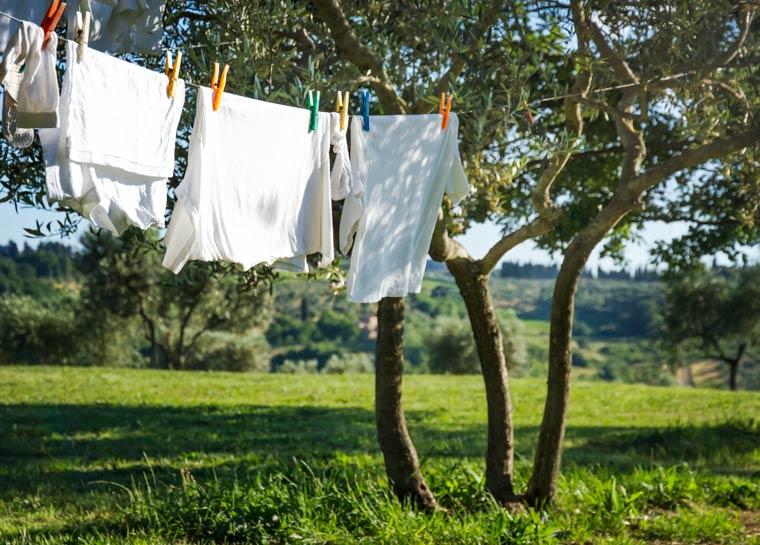 Wäsche an der frischen Luft trocken