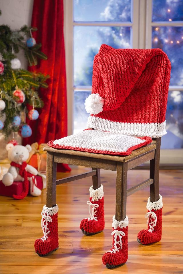 Stricken und häkeln für Weihnachtsdekoration mit Zpagetti-Garn
