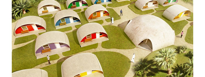 Eine Siedlung für Flüchtlinge lässt sich schnell und einfach aufbauen © Binishells