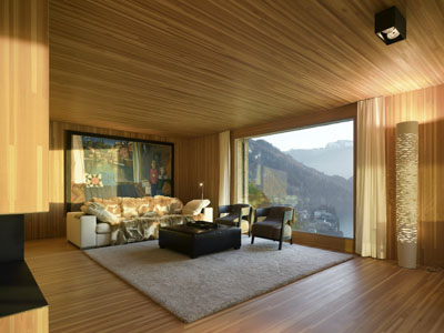 Ferienhaus Vitznau Wohnzimmer - Holzverkleidung