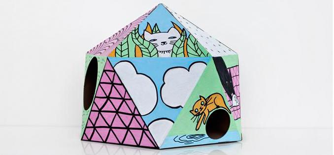 katzen haus plastik frei nachhaltig wohnen in pappe. Black Bedroom Furniture Sets. Home Design Ideas