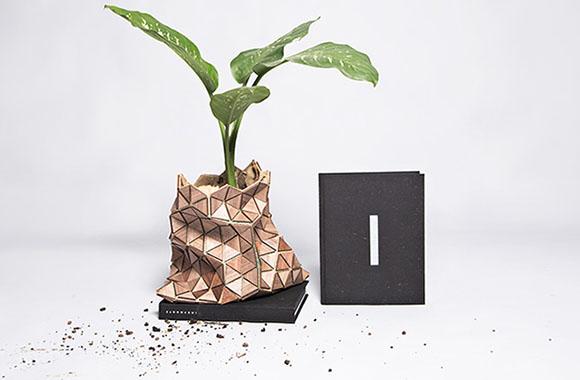 Recycling: Buchverpackung wird zum schicken Blumentopf