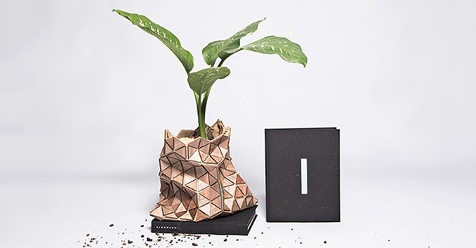 Schicke Wiederverwertung der Buchhülle. Als Blumentopf macht die Hülle eine gute Figur © Estudio Manifesto Futura