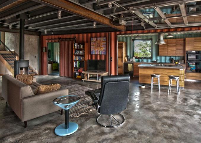 im containerhaus wohnen ein haus aus holz und stahl. Black Bedroom Furniture Sets. Home Design Ideas