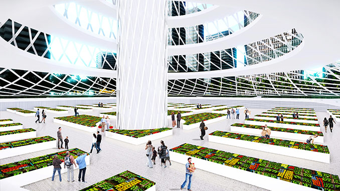 Sie bietet nicht nur Platz zum Wohnen, sondern auch für Ackerbau und sogar Obstbäume © Aprilli.com/Urban Skyfarm