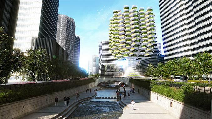 Ein Hingucker und eine wahre Lunge für die Großstadt der Zukunft © Aprilli.com/Urban Skyfarm