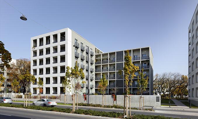 Das Wohnhaus in der Hansaallee in Frankfurt am Main ist Gewinner in der Kategorie Wohngebäude und Neubau © Jean Luc Valentin