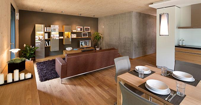 Der Wohnbereich ist stimmig und modern © IBA Hamburg / Bernadette Grimmenstein