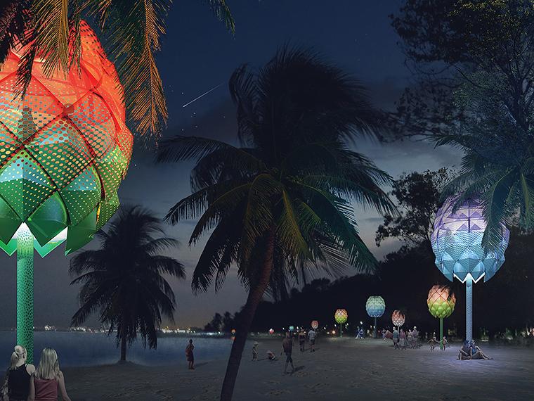 Leuchtende Akzente am Strand