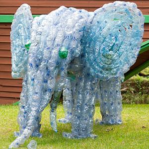 PET-Flaschen als Kunstobjekt.