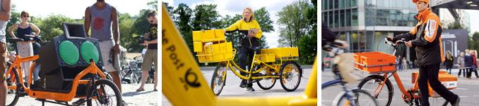 Ob für den Musiktransport oder die Brief- und Paketzustellung, Lastenfahrräder sind äußerst praktisch © klarageist.com, DPDHL, TNTpost