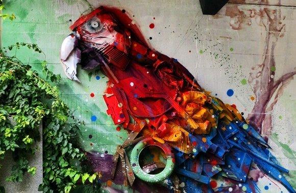 Farbenfrohe Müllkunst in Lissabon