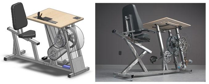 Der Big Rig von PedalPower ist eine Schreibtischkombin mit Pedalen zum Strom erzeugen und speichern.