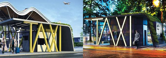 Ob Flughafen oder Stadtpark. Der Taxistand von © Hakan Gürsü macht überall eine prima Figur