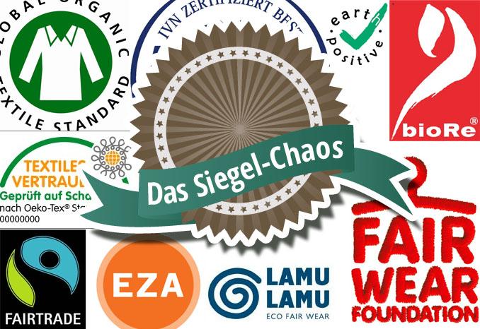 Ein kleiner Auszug aus dem Ökosiegel-Wahn. Über 100 weitere Siegel weltweit sollen den ökologischen Ursprung oder fairen Handel nachweisen ©ecowoman.de