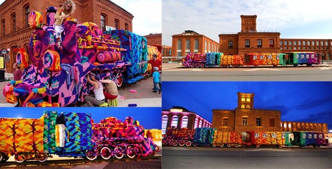 Einmalige Farbenpracht des umstrickten Zuges ©Olek NYC