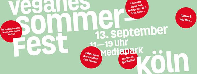 Das Vegane Sommerfest ist am 13.September von 11-19 Uhr im Mediapark Köln
