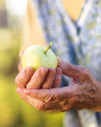 Alte Frau mit einem Apfel. Alte Apfelsorten - gesünder und allergiefrei.