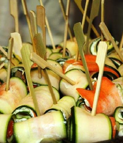 Gemüseröllchen mit Bärlauchfrischkäse
