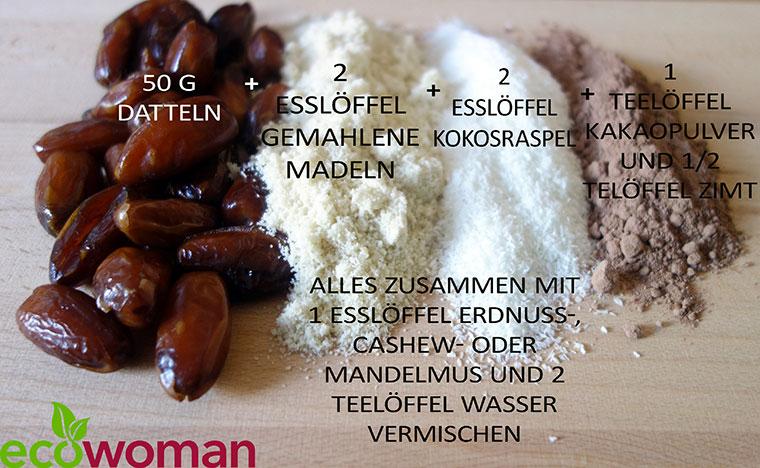 Rezept für Energy Balls mit Datteln, Koko, Mandeln und Co.