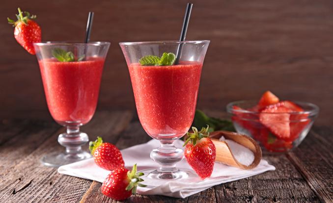 Smoothie aus erdbeeren