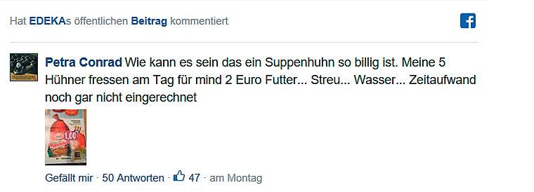 Facebook Kommentar zu Billigfleisch von Edeka
