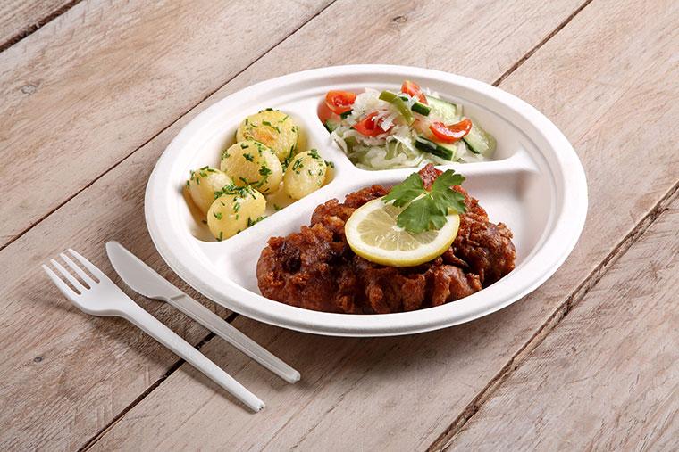 Leckere Speisen aus nachhaltigem Geschirr.