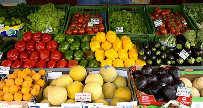 Frisches Obst und Gemüse regional und vegan