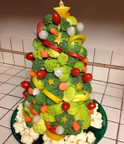 Gemüse-Weihnachtsbaum basteln