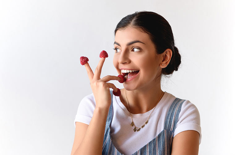 Frische Himbeeren als gesunder Snack