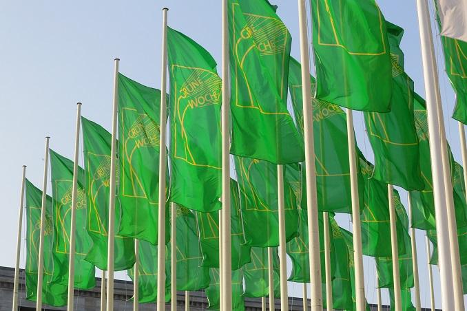 Die Fahnen der Grünen Woche locken die Besucher. © IGW