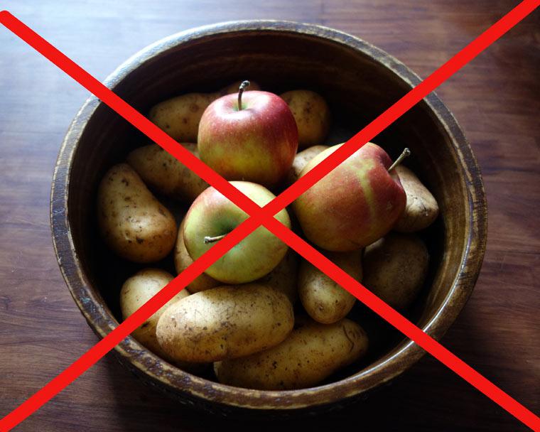 Lagere Kartoffeln und Äpfel niemals zusammen