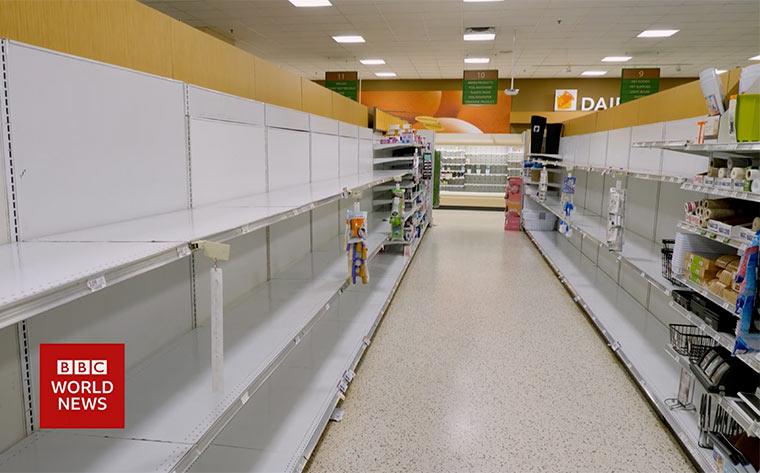 Leergekaufter Supermarkt