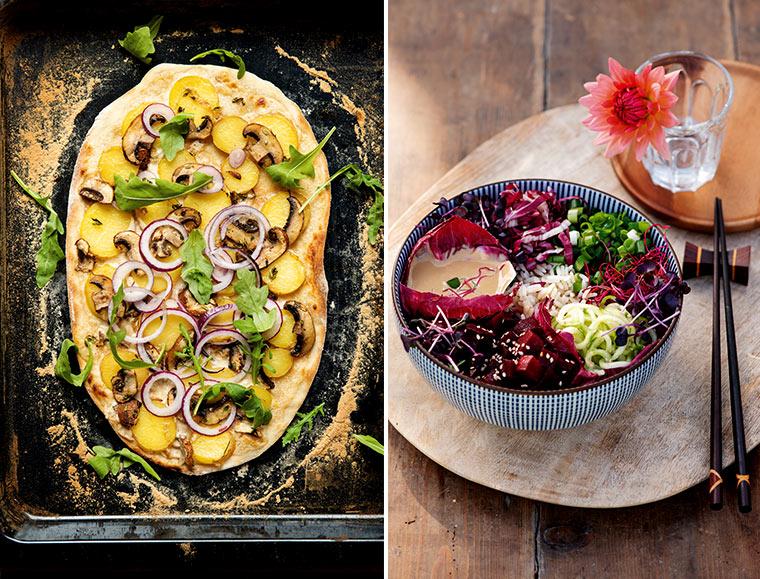 Flammkuchen und Veggie-Poké-Bowl