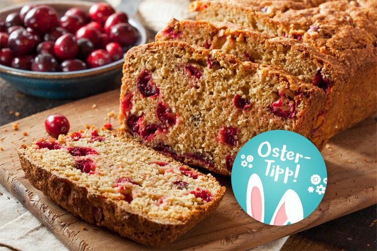 Leckeres Osterrezept Dinkel-Osterbrot mit Cranberries