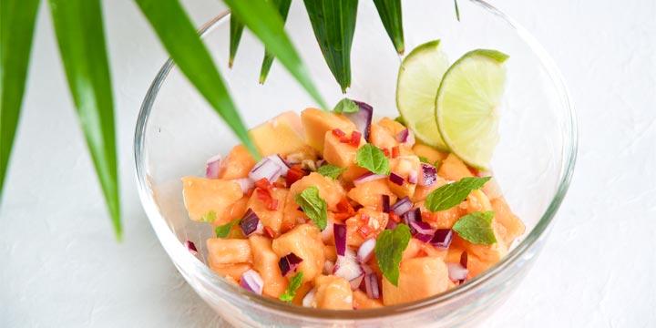 Papaya-Salsa mit Chili-Limetten-Vinaigrette