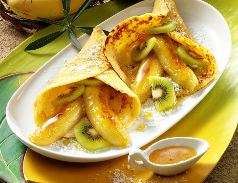 Rezept für Pfannkuchen mit Honig-Bananen
