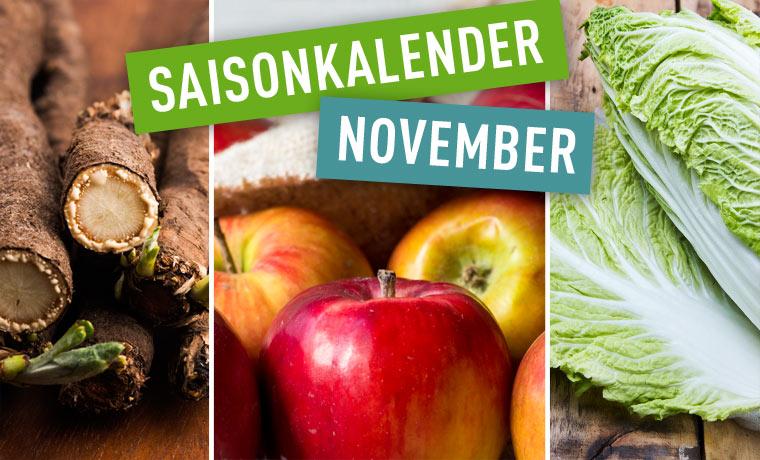 Saisonales Obst und Gemüse im November