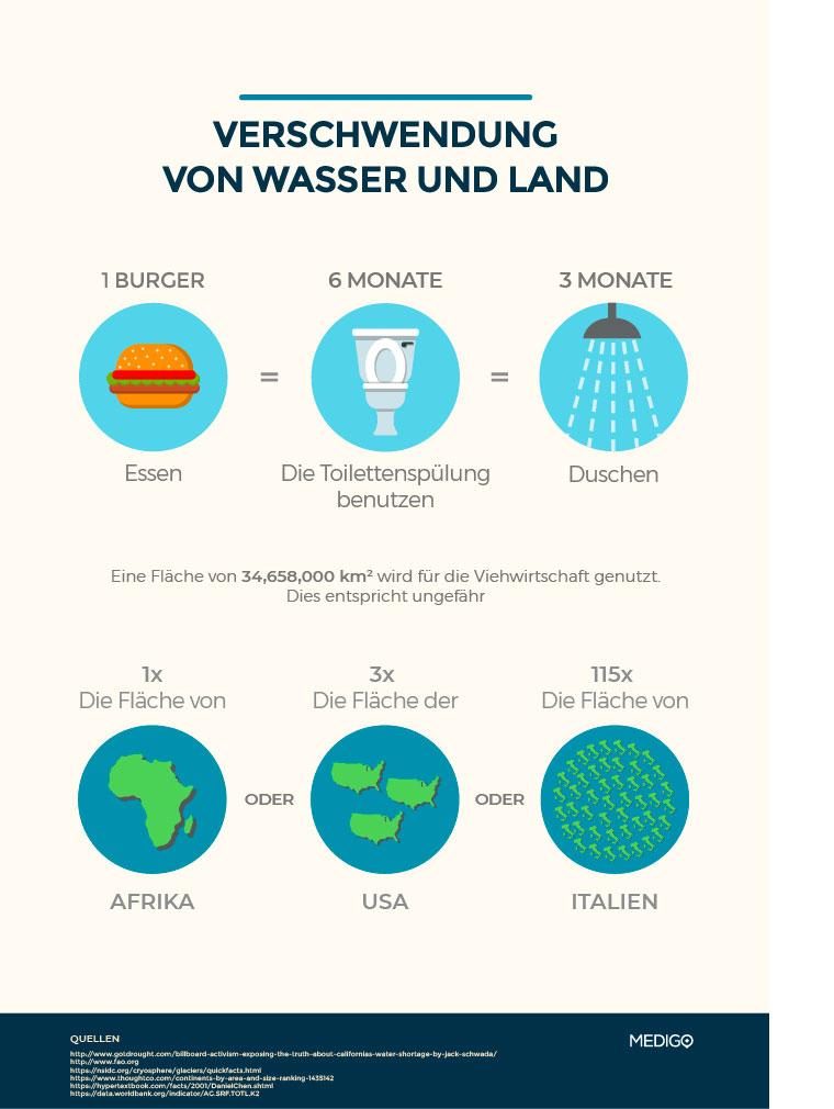 Verschwendung von Wasser und Land