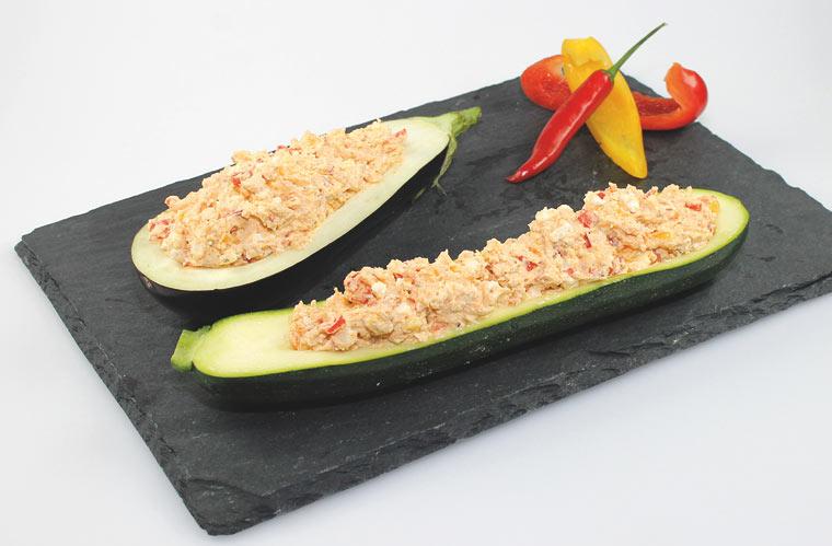 Zucchini mit Feta-Frischkäse Füllung