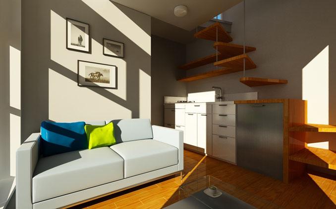 Direkt neben dem Wohnbereich ist die praktische Küche mit allem was man so braucht © NOMAD Micro Haus