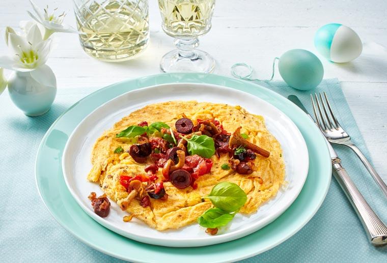 Pilz-Omelette mit Gemüsevariation für 4 Personen