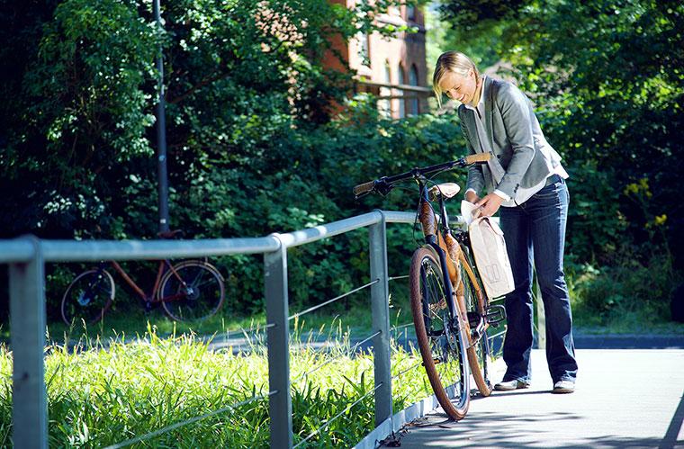 Praktische Citybikes aus Bambus.