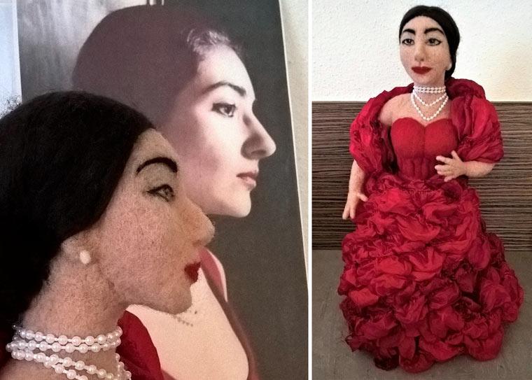 Filzpuppe Sängerin Maria Callas