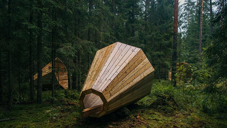 Faszinierende Holzkonstruktion im tiefsten Wald