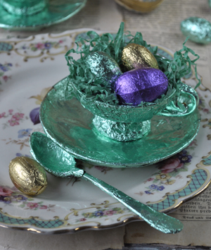 Ostern basteln romantische Ostereier