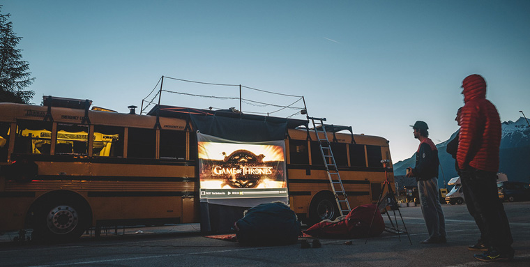 The Nomads Bus outdoor cinema