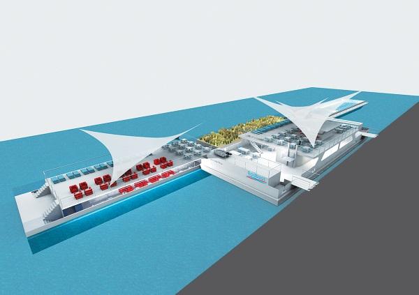 Umweltfreundlich reisen: Badeschiff in Antwerpen.