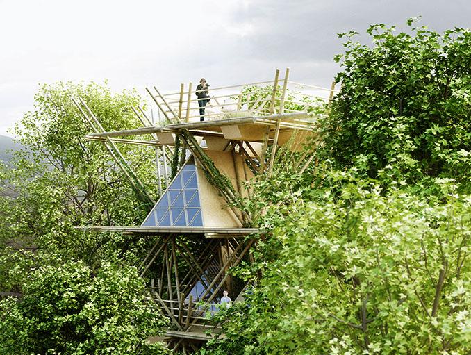 Auch das Dach bietet ein Pleateau zum Beobachten der Natur © Penda