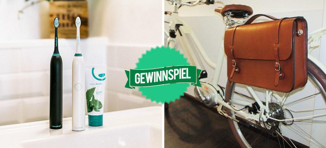 Für einen nachhaltigen Alltag: Fahrradtasche und Zahnbürste zu gewinnen